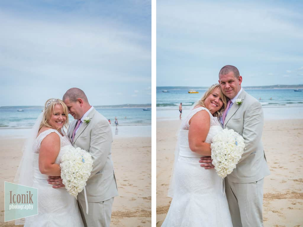 Wedding Photography in Cornwall - Bride and Groom on St Ives Porhtminster Beach
