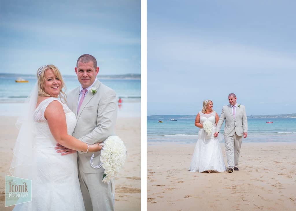 Wedding Photography in Cornwall - Bride on St Ives Porthminster Beach