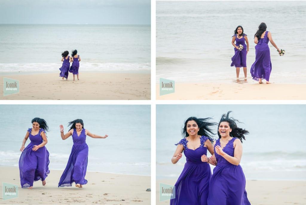 bridesmaids on the beach at carbis bay - Cornwall wedding Photography